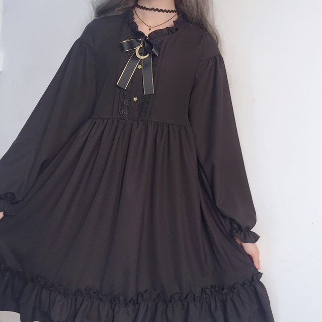 Harajuku Gothic Lolita Black Womens Dress With Stars Buttons 2018 Autumn Japanese Lace Up Long Sleeves Ruffles Teen Girls Dress 4