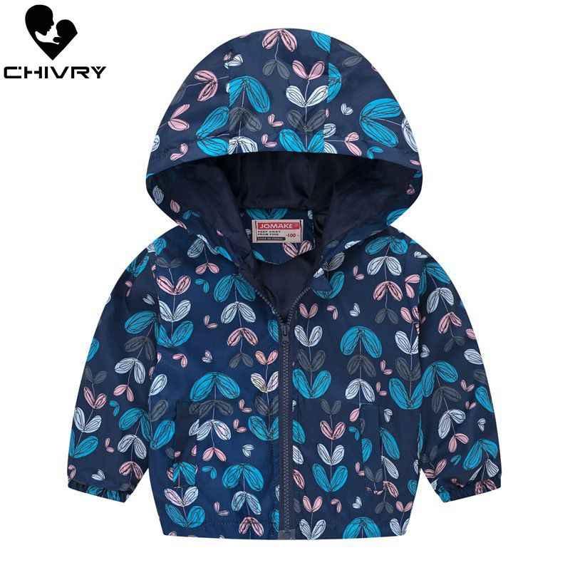 2019 Kids Kleding Jongens Jassen Kinderen Hooded Rits Windjack Baby Fashion Print Jas Zuigeling Waterdicht Hoodies Voor Meisjes