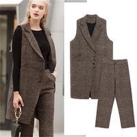 Модный клетчатый костюм для женщин, новинка, весна-осень, большой размер 4XL, шерстяной клетчатый жилет + широкие брюки, комплект из двух предм...