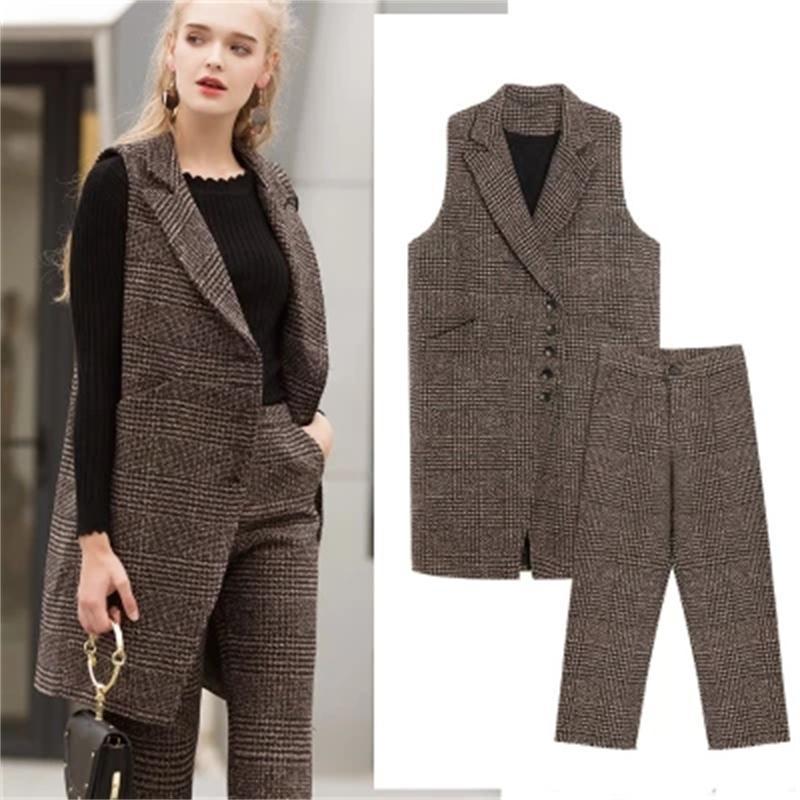 Модный клетчатый костюм для женщин, новый высококачественный шерстяной клетчатый жилет большого размера 4XL + широкие брюки, Женский костюм ...