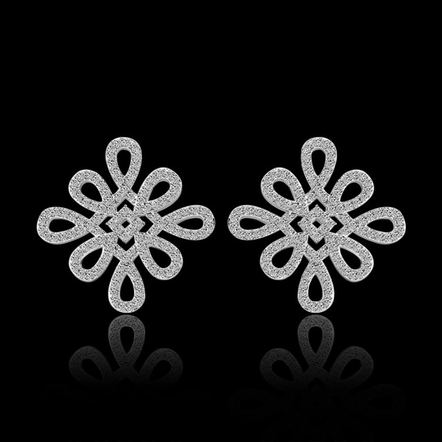 Clear Chinese knot Shaped Stud Earrings For Women Top Grade CZ Brincos White Gold Plated Party Jewelry Earring brincos JJ10412