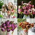 8 heads/Bouquet Elegant Artificial Peony Silk Flowers Floral Home Bridal Wedding Party Decor Decoration Flores Artificial Pompom