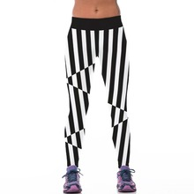 New 057 Sexy Girl Jogging Leggings Comics Black white malposed Stripes Prints High Waist Running Fitness