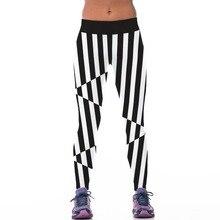 New 057 Sexy Girl Jogging Leggings Comics Black white malposed Stripes Prints High Waist Running Fitness Sport Women Yoga Pants
