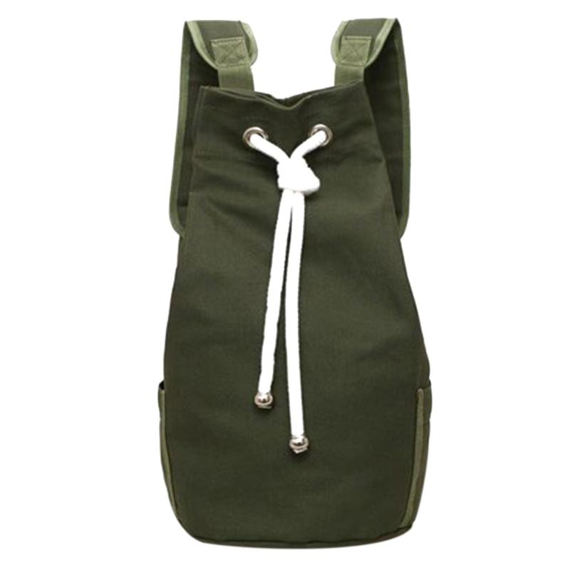 Canvas Casual Men Drawstring Backpack Large Capacity Sport Outdoor Backpack Back Pack Army Green/black Color Travel Bags