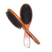 Anti-static Hair Scalp Paddle Brush Natural Boar Bristle Hairbrush Massage Comb Beech Wooden Handle Styling Tool J75
