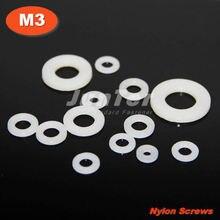 1000pcs/lot DIN125 M3(ID) x 6(OD) x 1.2mm Thick Nylon Flat Washer