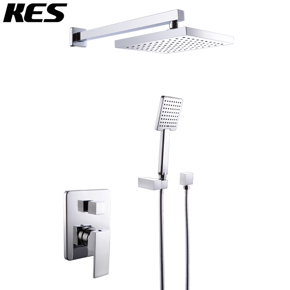 kes x6223 bathroom single handle shower faucet trim valve body hand shower complete kit modern square