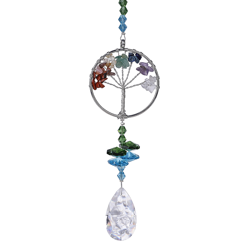 H&D Crystal Suncatcher Tree Of Life Window Ornament With 38mm Crystal Prism Rainbow Maker Sun Catcher For Home Garden Decor