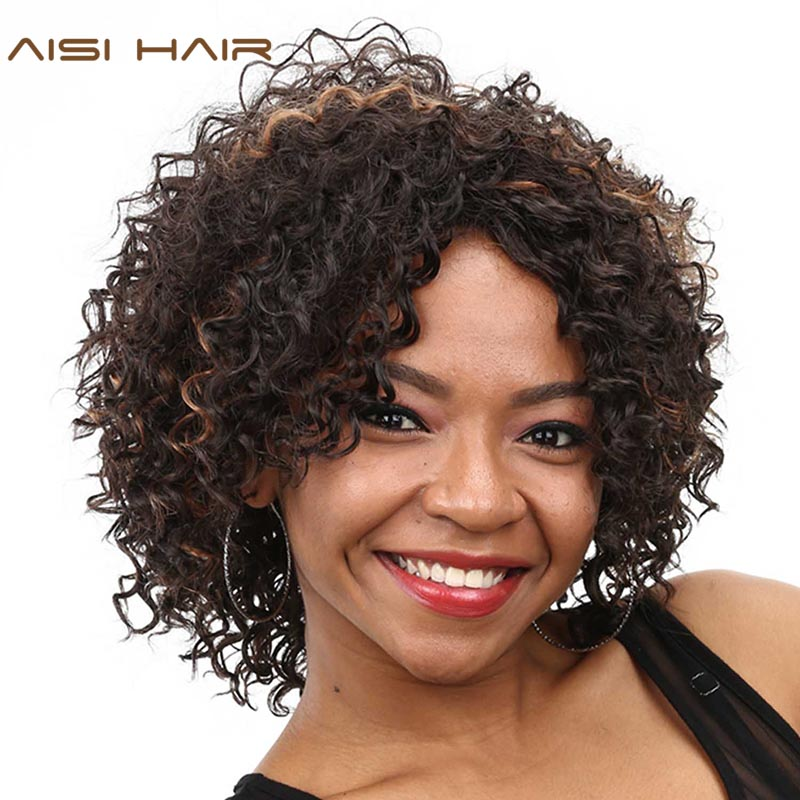 AISI HAIR Synthetic Wigs for Black Women Short Curly Cosplay Darked Hair With Heat Resistant