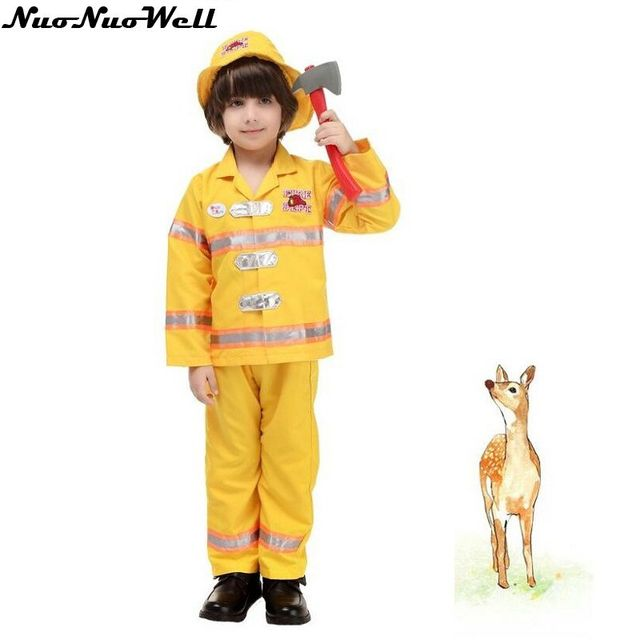 New Hot Halloween Kids Fireman Cosplay Suit with Hat Party Captain Role Playing Clothing Yellow Policeman Uniforms Costume