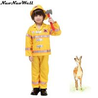 New Hot Halloween Kids Fireman Cosplay Suit with Hat Party Captain Role Playing Clothing Yellow Policeman Uniforms with props