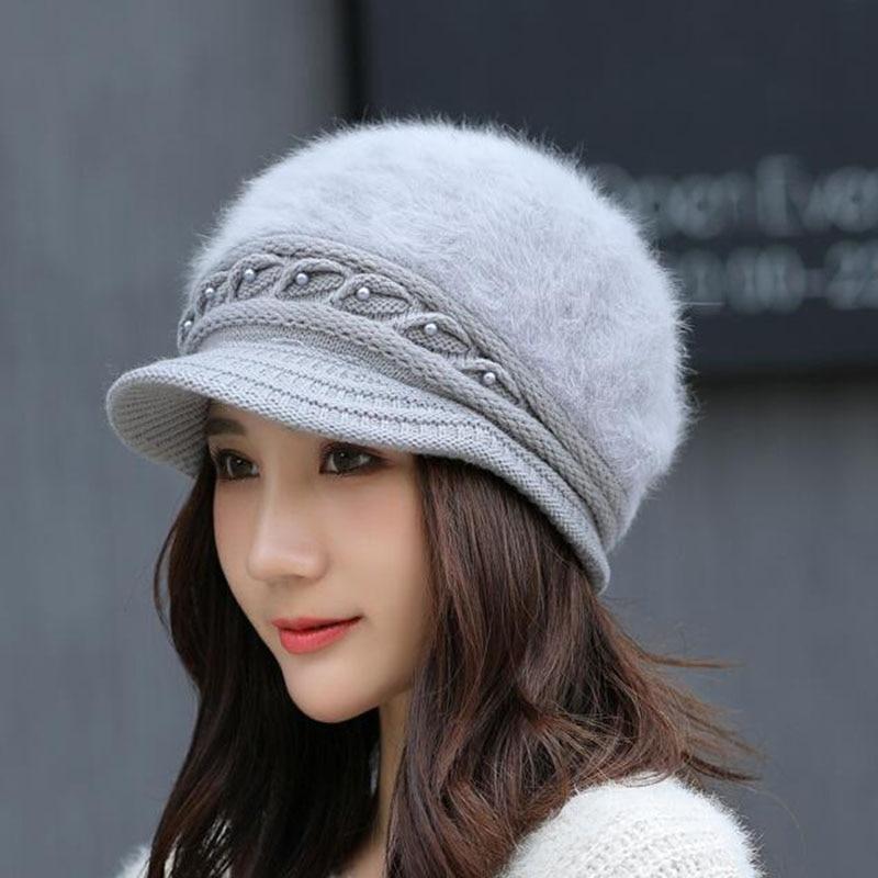 Новая брендовая шапка осень-зима вязаная шапка женская теплая шапка из кроличьего меха Вязаная ветрозащитная вязаная шапка женские шапки