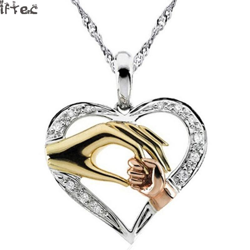 2017 Mom Necklace Baby Heart Pendant Mother Daughter Son Chis