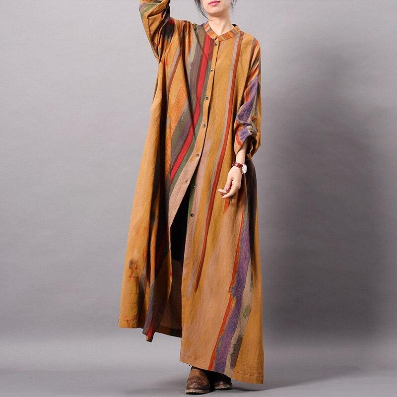 Przycisk sukienka w paski stojak z długim rękawem kobiety tkaniny wiosna wysokiej jakości w stylu Vintage miękkie jedwabna koszula sukienka dla kobiet w Suknie od Odzież damska na  Grupa 1