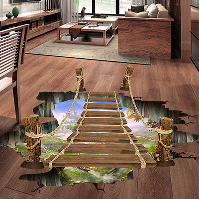 Removable Mural Decals Decors Wall-Stickers Vinyl Art Living-Room Bridge Floor 3D