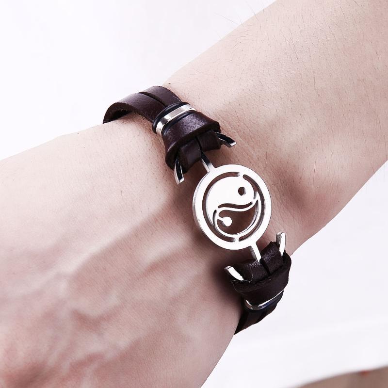 Classic Leather Bracelets Fashion Stainless Steel Round Retro Taoism Gossip Nationalities Style Leisure Clasp Bracelet Jewelry