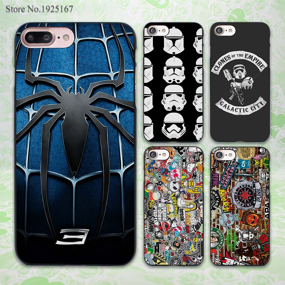 <font><b>Spider</b></font> <font><b>Man</b></font> <font><b>3</b></font> Blue Chest <font><b>Logo</b></font> design hard black <font><b>Case</b></font> Cover <font><b>for</b></font> Apple <font><b>iPhone</b></font> 7 <font><b>6</b></font> 6s Plus SE 5 5s 5c 4 4s