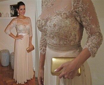 7b95c355626 2018 Мать Длинные платья для невесты шифон три четверти рукава О-образным  вырезом Аппликации бисерные