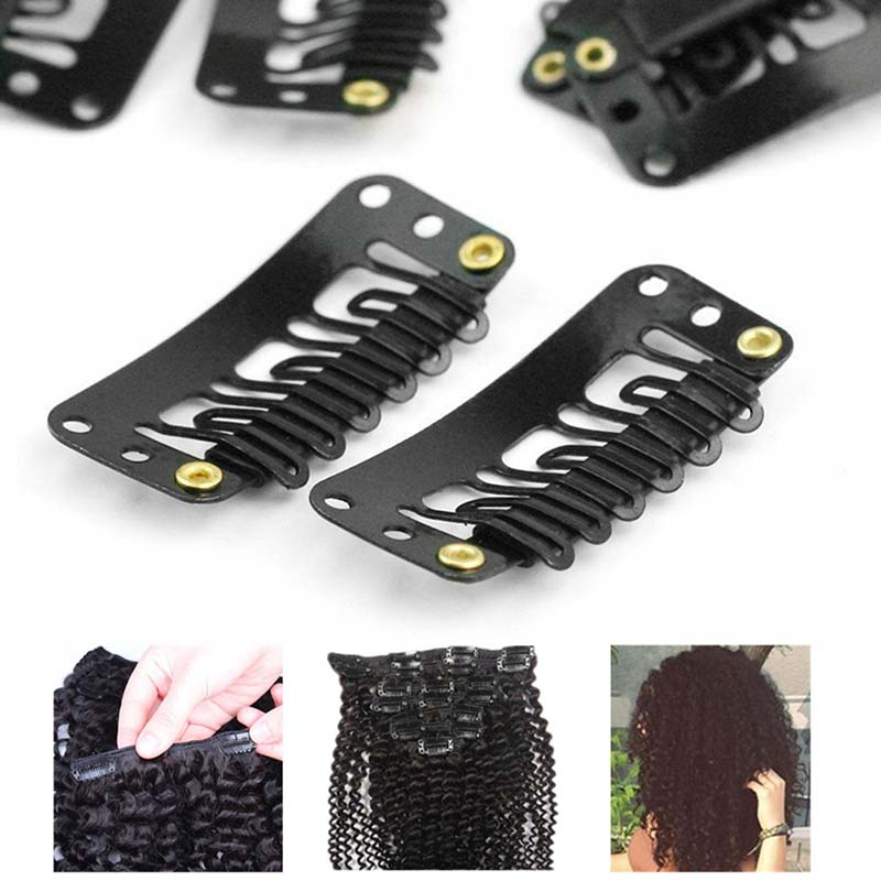 32mm 6-teeth Hair Extension Clips Snap Metal Clips With Silicone Back For Clip In Human Hair Extensions Wig Comb Clips New