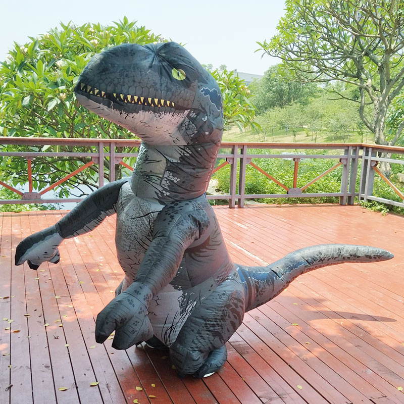 Jurassic World 2 Park Hot Adult Inflatable Velociraptor Costume Halloween Dinosaur T REX Costume For Men Fancy Dress Cosplay
