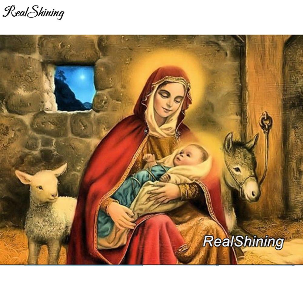 REALSHINING DIY Diamond Painting Cross Stitch Virgin New Born Baby 5D Needlework Mosaic Full Square Diamond embroidery DM22