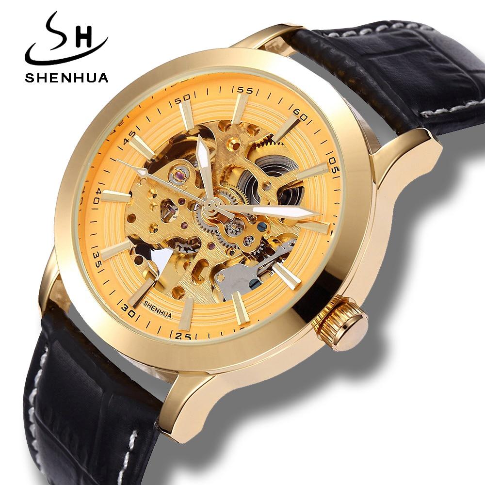 где купить Shenhua 2018 New Arrival Skeleton Gold Mechanical Watches Luxury Gold Case Leather Watchband Automatic Self Winding Mens Watch по лучшей цене