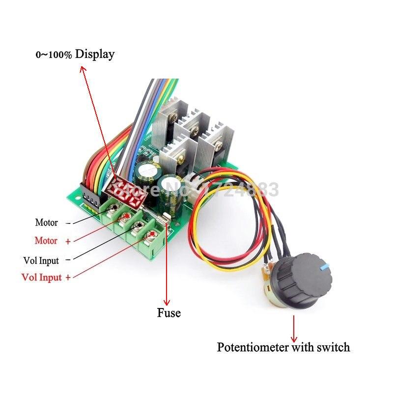 Max 30a Digital Display Dc Motor Controller 9~60v Dc Display 0~100% Adjustable Drive Module 12v 24v 36v 48v Electrical Equipments & Supplies