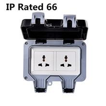 цена на IP66 Waterproof wall switch socket two multi-function three hole double UK/EU/AU/US socket outdoor bathroom.