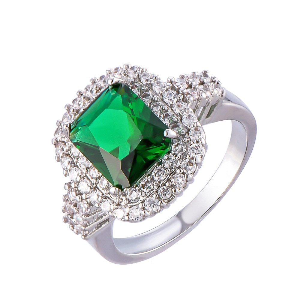 Vintage Two Rowed Cushion Setting Created Emerald Square Engagement Ring Silver Tones Princess Cut Green Stone Double Halo Rings