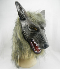 Werewolf Cosplay Props Party Fancy Dress Scary Gray Wolf Head Masks Realistic Halloween Adult Latex Mask halloween party blood skull mask movie cosplay scary latex masks props festival party supplies realistic creepy