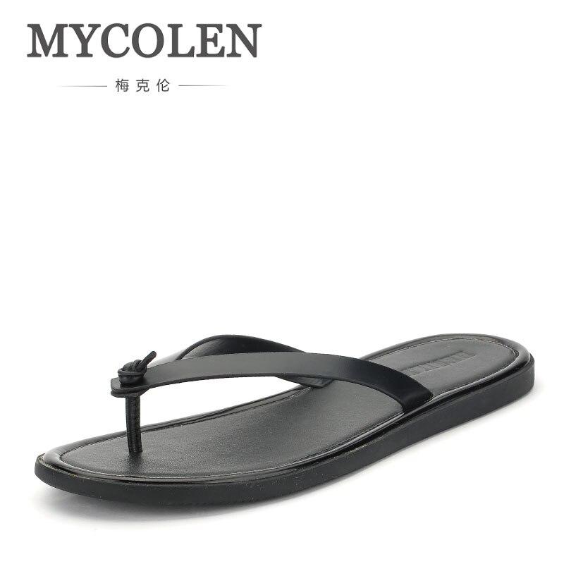 MYCOLEN/мужские Вьетнамки; Шлепанцы из натуральной кожи; коллекция 2018 года; летняя модная обувь для пляжного отдыха; мужские сандалии; мужские п
