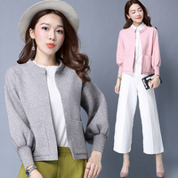 2017 Spring Pattern Korean Solid Color Easy Loose Coat Shawl Outside The Short Sleeve Knitting Unlined