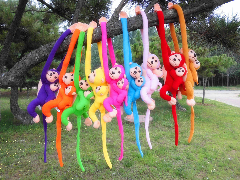 free shipping cute monkey mother child little monkey plush toy one lot 10 pieces toys Christmas