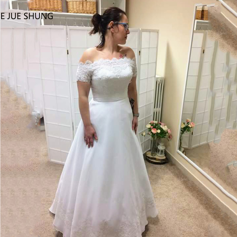 E JUE SHUNG White Organza Lace Appliques Wedding Dresses 2019 Off The Shoulder Short Sleeves Wedding