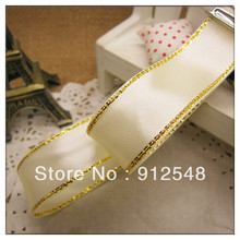 Free Shipping 3/4(20mm) 0ne pieces/25Yards Gold Edge Satin Ribbon,Jewelry Accessory,Gift packing,JBGX20001