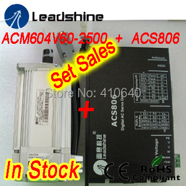 Set sales Leadshine ACM604V60 400W Brushless AC Servo Motor and ACS806 Servo Drive and encoder cable and power cable 400w new leasshine acm604v60 01 2500 ac servo motors running 3000rpm speed have 1 27nm with 2500 encoder fit servo drive acs806