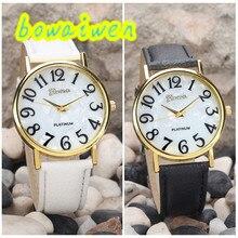 Bowaiwen #0041 женщина часы Женщины Ретро Цифровой Циферблат Кожаный Ремешок Кварцевые Аналоговые Наручные Часы Часы