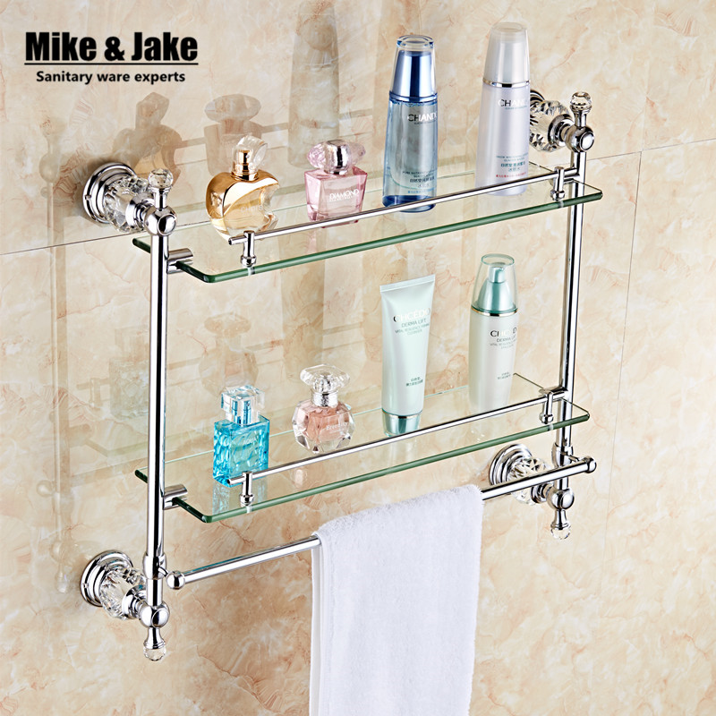 Bathroom Accessories chrome Finish With crystal Tempered Glass,double Glass double Shelf bathroom shelf direct selling hot sale bolt inserting type free shipping bathroom accessories solid chrome double shelf wholesale 84012