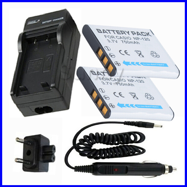 <font><b>Battery</b></font> (2-Pack) + Charger for Casio <font><b>NP</b></font>-<font><b>120</b></font>, <font><b>NP</b></font> <font><b>120</b></font>, NP120 Lithium Ion Rechargeable 3.7 V,750mAh image