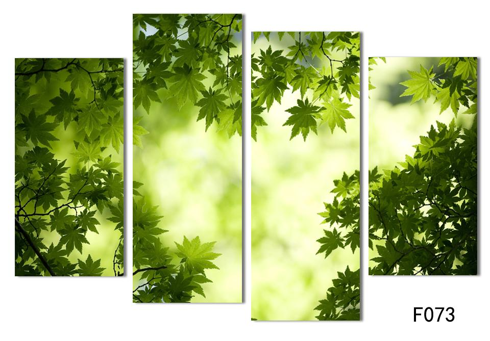 4 Panel Abstract Printed Still Life Green Leaf Painting Cuadros Canvas Art Picture Decoracion For Living Room Unframed In Calligraphy