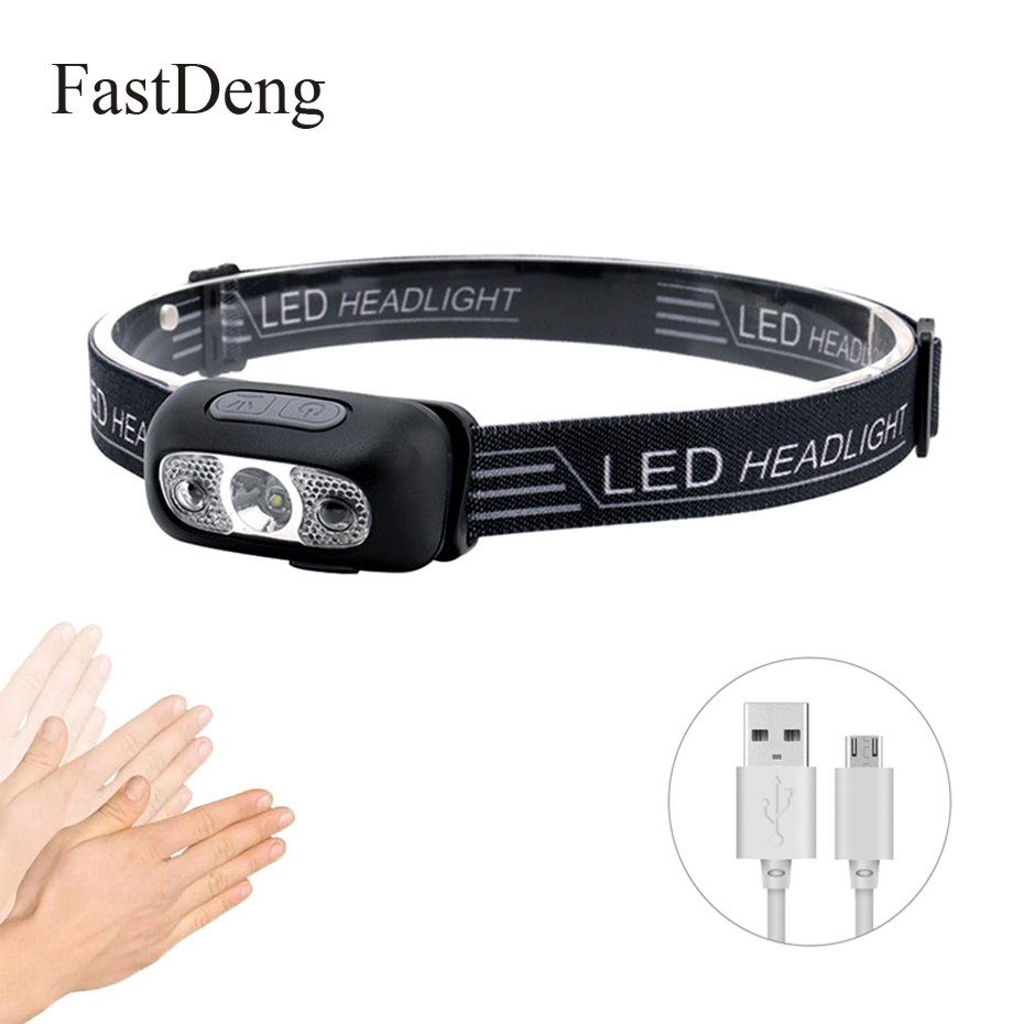 Mini USB Rechargeable LED Headlamp 1000lm Body Motion Sensor Headlight Camping Flashlight Head Head Light Torch Lamp With USB