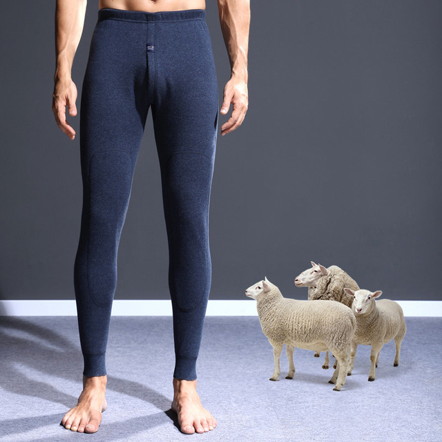 Men Long Johns Knee Pad Thick Wool Warm Pants Cotton Soft Velvet Long Johns Pants Thermal Underwear Bottoming Trousers
