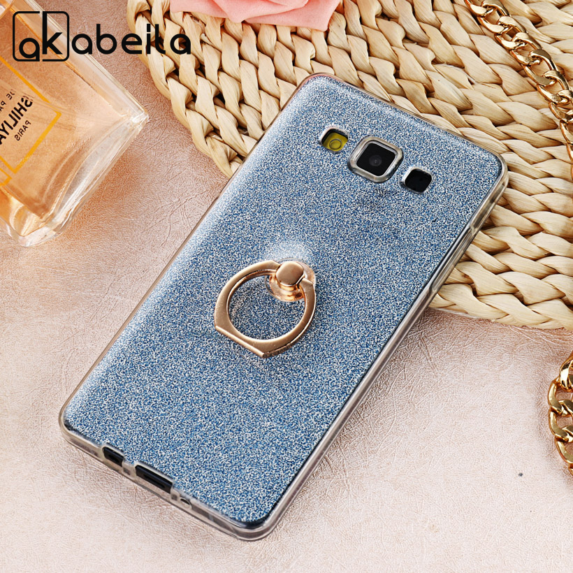 AKABEILA Case Soft TPU For <font><b>Samsung</b></font> Galaxy A5 2014 Anti-knock A500F A500FQ <font><b>A500FU</b></font> A500HQ A500YZ A500M Ring Glitter Back Cover image