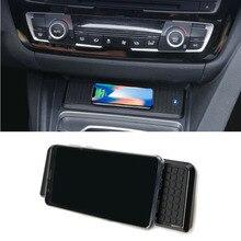 BMW 3 serisi için F30 F31 F82 F32 F34 F36 araba QI kablosuz şarj cihazı hızlı şarj modülü kupası tutucu paneli iPhone için aksesuarlar