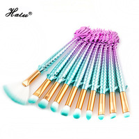Halu 10Pcs Tower Brushes Unicorn Mermaid Makeup Brushes Set Professional Soft Makeup Foundation Brush Face Shadows
