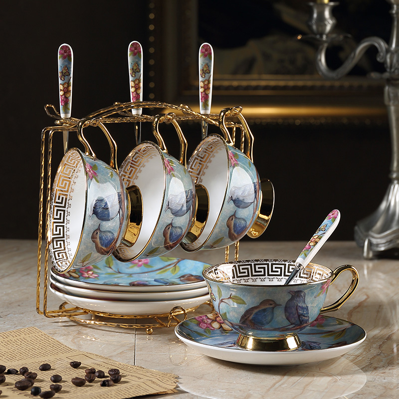 Top Grade vintage Coffee cups set Saucer spoon Phnom Penh Bone China British porcelain tea cup Teatime Afternoon Tea party