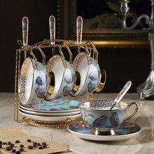Top Grade vintage Coffee cups set Saucer spoon Phnom Penh Bone China British porcelain tea cup Teatime Afternoon Tea party