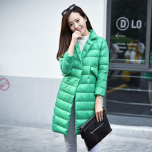 2016 New Spring Winter Light Thin Down Jackets Women's Stand Collar Long Down Coats Fashion female Leisure Loose Outerwear YR31