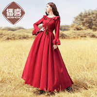 [AIGYPTOS BOSHOW]Original Design Autumn New Women Vintage Palace Style Slim Butterfly Sleeve Corduroy Maxi Long Dress S M L XL